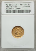 Liberty Quarter Eagles, 1857-D $2 1/2 -- Tooled, Cleaned -- ANACS. AU Details, Net VF30. Variety 21-N....
