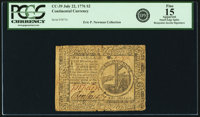 Continental Currency July 22, 1776 $2 Fr. CC-39. PCGS Fine 15 Apparent