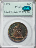 Proof Seated Half Dollars, 1871 50C PR64 PCGS. CAC....