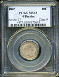 Early Dimes: , 1805 10C 4 Berries MS62 PCGS. JR-2, R.2. Olive, golden-brown, anddove-gray colors enrich this handsome early silver type c...