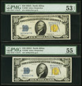 Small Size:World War II Emergency Notes, Fr. 2309 $10 1934A North Africa Silver Certificates. Five Consecutive Examples. PMG Graded.. ... (Total: 5 notes)