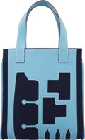Luxury Accessories:Bags, Hermes Petit H Collection Blue Jean Epsom Leather & Blue RoyaleFeutre Wool Skeleton Tote Bag. Excellent Condition.10...
