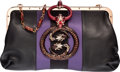 "Luxury Accessories:Bags, Gucci Black Leather, Purple Silk & Jeweled Enamel Dragon Bag byTom Ford. Very Good Condition. 12"" Width x 8"" Heightx..."