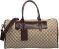 "Luxury Accessories:Bags, Gucci Brown Leather & Monogram Canvas Duffle Bag. ExcellentCondition. 20"" Width x 11"" Height x 9"" Depth. ..."