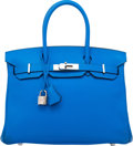 "Luxury Accessories:Bags, Hermes 30cm Blue Hydra Clemence Leather Birkin Bag with PalladiumHardware. P Square, 2012. Excellent Condition. 12"" Width..."