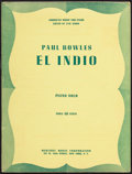Books:Music & Sheet Music, Paul Bowles. El Indio. New York: [1943]. First edition....