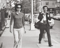 Joy Smith (American, 20th Century) Jackie Onassis being followed by Ron Galella around her neighborhood