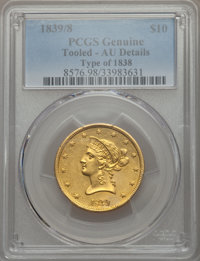 1839 $10 Type of 1840, Small Letters -- Tooling -- PCGS Genuine. AU Details....(PCGS# 8580)