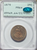 Proof Seated Quarters, 1870 25C PR64 PCGS. CAC....