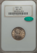 Liberty Nickels, 1891 5C MS66 NGC. CAC....