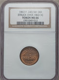 Civil War Patriotics, 1863 Union Forever/Monitor Token -- Struck Over an 1863Indian Cent -- MS66 NGC. Fuld-240/341do, R.8....