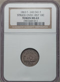 Civil War Patriotics, 1863 Union Forever/Monitor Token -- Struck Over an 1857Seated Dime -- MS63 NGC. Fuld-240/341fo, R.8....