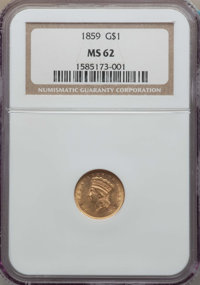 1859 G$1 MS62 NGC. NGC Census: (120/70). PCGS Population (68/108). Mintage: 168,244. CDN Wsl. Price for problem free NGC...