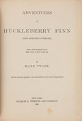 Books:Literature Pre-1900, Mark Twain. Adventures of Huckleberry Finn. New York:Charles L. Webster and Company, 1885. First American edition, ...