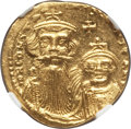 Ancients:Byzantine, Ancients: Constans II Pogonatus (AD 641-668), with Constantine IV(AD 654-685). AV solidus (4.48 gm)....