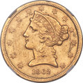 1862-S $5 -- Improperly Cleaned -- NGC Details. AU....(PCGS# 8293)