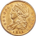 Early Half Eagles, 1811 $5 Small 5, BD-2, R.3, MS62 PCGS....