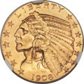 Indian Half Eagles, 1908-S $5 MS63 NGC....