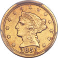 Liberty Quarter Eagles, 1851-D $2 1/2 AU53 PCGS. Variety 1....