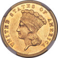 Three Dollar Gold Pieces, 1882 $3 Repunched Date, FS-301, AU58 NGC....