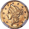 California Fractional Gold , Undated 25C Liberty Round 25 Cents, BG-201, High R.7, AU58 NGC....