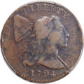 Large Cents, 1794 1C Head of 1793, Edge of 1793, S-17a, B-1a, Low R.5, Fine 15 Bland; Fine 12 Noyes; VF25 PCGS Secure. ...