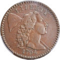 Large Cents, 1794 1C Head of 1794, S-50, B-43, R.5, VF25 Bland, VF20 Noyes; XF40 PCGS Secure. ...