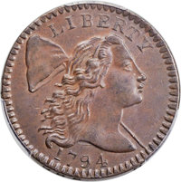 1794 1C Head of 1794, S-58, B-56, R.3, MS60 Bland; MS62 Brown PCGS Secure. ...(PCGS# 35636)