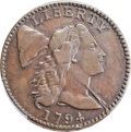Large Cents, 1794 1C Head of 1794, S-66, B-58, R.5, VF25 Bland, VF25 Noyes; VF30 PCGS Secure. ...