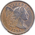 Large Cents, 1794 1C Head of 1795, S-71, B-63, R.2, XF40 Bland, VF25 Noyes; XF Details -- Cleaning -- Genuine PCGS Secure....