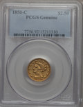 Liberty Quarter Eagles, 1850-C $2 1/2 PCGS Genuine. The PCGS number ending in .92 suggests cleaning as the reason, or perhaps one of the reasons, t...