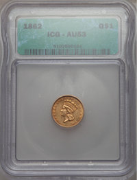 1862 G$1 AU53 ICG. In our opinion, this coin grades AU53. NGC Census: (7/3017). PCGS Population (28/2478). Mintage: 1,3...