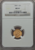 Gold Dollars: , 1869 G$1 MS61 NGC. NGC Census: (20/49). PCGS Population (9/61). Mintage: 5,900. . From The Twelve Oaks Collection....