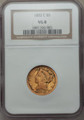1852-C $5 VG8 NGC. NGC Census: (1/236). PCGS Population (1/216). Mintage: 72,574. From The Twelve Oaks Collection.&l...