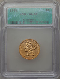 1861 $5 AU50 ICG. In our opinion, this coin grades AU50. NGC Census: (126/1507). PCGS Population (151/892). Mintage: 68...