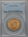 Liberty Eagles: , 1885-S $10 MS61 PCGS. PCGS Population (169/378). NGC Census: (366/299). Mintage: 228,000. . From The Twelve Oaks Collec...