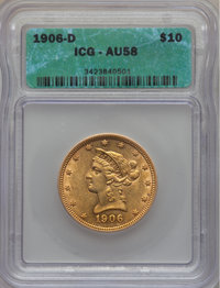 1906-D $10 AU58 ICG. In our opinion, this coin grades AU53. NGC Census: (296/3508). PCGS Population (389/2694). Mintage:...