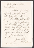 "Books:Literature Pre-1900, William Dean Howells. Autograph Letter Signed. Boston: Feb. 8, 1884. ""Dear Madam,"" thanking the recipient for a children's b..."