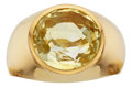Estate Jewelry:Rings, Gentleman's Yellow Sapphire, Gold Ring. ...