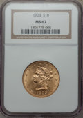 Liberty Eagles: , 1903 $10 MS62 NGC. NGC Census: (354/154). PCGS Population (295/206). Mintage: 125,800. CDN Wsl. Price for problem free NGC/...