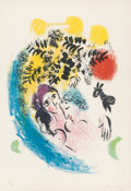 Prints:European Modern, Marc Chagall (1887-1985). Les amoureux au soleil rouge,1960. Lithograph in colors on wove paper. 14-3/4 x 11 inches (37...
