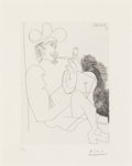 Prints:European Modern, Pablo Picasso (1881-1973). Homme rembranesque à la pipe,from La Séries 347, 1968. Etching on BFK Rives paper.8-1/8...
