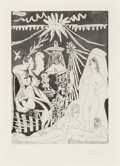 Prints:European Modern, Pablo Picasso (1881-1973). Homme allongé, avec deux femmes,from La Seriés 347, 1968. Aquatint with etching on BFK R...