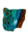 Lapidary Art:Carvings, Polished Chrysocolla Slab. Bagdad Copper Mine. Yavapai County.Arizona. 2.28 x 2.19 x 0.19 inches (5.78 x 5.57 x 0.47 cm)...