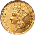 Three Dollar Gold Pieces, 1871 $3 MS61 NGC....