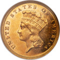 Three Dollar Gold Pieces, 1882 $3 Repunched Date, FS-301, MS63 NGC....