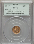 Commemorative Gold, 1917 G$1 McKinley Gold Dollar MS63 PCGS. PCGS Population(467/1912). NGC Census: (226/934). Mintage: 10,000. CDN Wsl.Price...