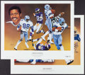 Football Collectibles:Others, Dorsett and Pearson Signed Lithographs (2). ...