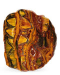 Lapidary Art:Carvings, Tiger's Eye Slab. Mt. Brockman Station. Pilbara.Western Australia. 8.66 x 7.28 x 0.44 inches (22.00 x18.50 x...