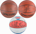 Basketball Collectibles:Balls, Houston, Reed and Stackhouse Signed Basketballs (3)....